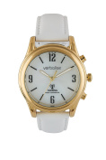 Verbalise Ladies Gold Radio Controlled Talking Watch White Mother of Pearl Face withWhite Leather Strap