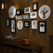 Photo frame set -solid wood simple modern creative combination of classic black and white photo hanging, black and white and colour