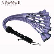 Genuine Purple Leather Purple Rose Flogger 09 Braided Tails