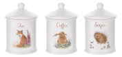 Royal Worcester Wrendale Designs Tea Coffee & Sugar Canisters