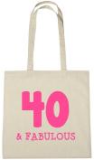 40 & Fabulous Tote Bag, 40th Birthday Gift Bag for Women
