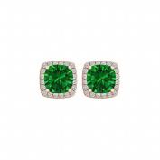 Fine Jewellery Vault UBUNER40591AGVRCZE600 Cubic Zirconia Emerald Square Stud Earrings in 14K Rose Gold Vermeil