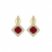 Fine Jewellery Vault UBUNER40850Y14CZR Cubic Zirconia Ruby Rhombus Halo Stud Earrings in 14K Yellow Gold