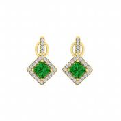 Fine Jewellery Vault UBUNER40850AGVYCZE Rhombus Design Emerald Cubic Zirconia Halo Stud Earrings in 18K Yellow Gold Vermeil