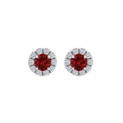 Fine Jewellery Vault UBUNER40827W14CZR100 Ruby Cubic Zirconia Round Halo Push Back Stud Earrings in 14K White Gold