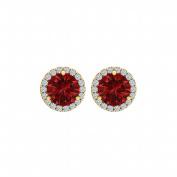 Fine Jewellery Vault UBUNER40927Y14CZR100 Ruby Cubic Zirconia Round Halo Push Back Stud Earrings in 14K Yellow Gold