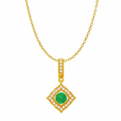 Fine Jewellery Vault UBUPDS86476Y14CZE Emerald Cubic Zirconia Halo Square Pendant in 14K Yellow Gold 1.25 Carat