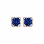 Fine Jewellery Vault UBUNER40591AGVRCZS600 Sapphire Cubic Zirconia Square Push Back Earrings in 14K Gold Vermeil