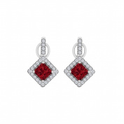Fine Jewellery Vault UBUNER40850AGCZR Rhombus Style Cubic Zirconia Ruby Square Earrings in 925 Sterling Silver