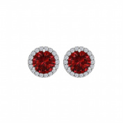 Fine Jewellery Vault UBUNER40927AGCZR100 Cubic Zirconia Ruby Round Halo Stud Earrings in 925 Sterling Silver