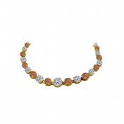 Fine Jewellery Vault UBNKBK7205AGVYCZSQ Cubic Zirconia Smoky Quartz Graduated Necklace Yellow Gold Vermeil