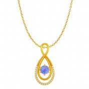 Fine Jewellery Vault UBUPDS86079AGVYCZTZ Cubic Zirconia Tanzanite Infinity Double Loop Pendant in 18K Yellow Gold Vermeil
