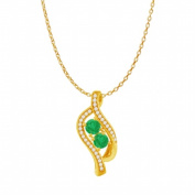 Fine Jewellery Vault UBUPDS86428AGVYCZE Emerald Two Stone Cubic Zirconia Accented Pendant in 18K Yellow Gold Vermeil