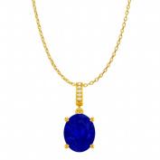 Fine Jewellery Vault UBUPDS85655AGVYCZS Oval Sapphire Cubic Zirconia Accented Birthstones Pendant in Yellow Gold Vermeil