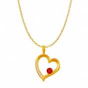 Fine Jewellery Vault UBUPDS86377Y14CZR Ruby Cubic Zirconia Open Heart Design Pendant in 14K Yellow Gold