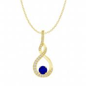 Fine Jewellery Vault UBUPDS86484AGVYCZS Sapphire Cubic Zirconia Infinity Style Pendant in 18K Yellow Gold Vermeil