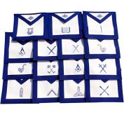 Masonic Blue Lodge Aprons- Set of 15 Aprons