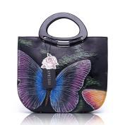 Aphison Cowhide Leather Tote Style Ladies Hand Painted Art Top Handle Bag Cross Body Messenger Handbag