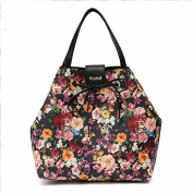 Kadell Women Tote Bag Top-Handle Handbag for Ladies Shoulder Bags Floral Pattern Purse Black