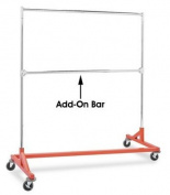 Only Hangers Commercial Grade Double Bar Rolling Z Rack with Nesting Orange Base