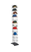 """Black Floor Standing Hat Rack Tower, Black Finish • Holds up to 72 Caps Vertically • Features Friction Fit Sign Holder • Overall Dimensions 200cm h X 25cm w X 15½""""d • Easy to Assemble,create Attractive Hat Displays to Encourage Your Customers to Access .."""