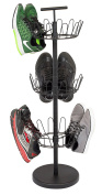 Internet's Best 3 Tier Metal Shoe Tree | Black Finish | 18-Pair Shoe Organisation | Free Standing Tower Weighted Base