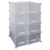 White Finish 8-Compartment Shoe Rack Made of Metal and Plastic 27kg Weight Capacity 80cm H x 50cm W x 37cm D