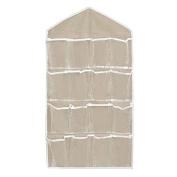 16 Pockets Clear Over Door Hanging Bag Shoe Rack Hanger Storage Organiser Nice Colour:Beige