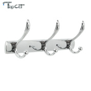 TAPCET 3/4/5 Stainless Steel Zink alloy Wall Mounted Hook Hanger Coat Robe Clothes Towel Rack