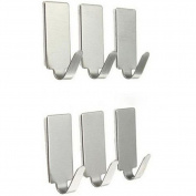 Distinct 6pcs/set Adhesive Kitchen Wall Door Hook Stainless Steel Sticker Holder