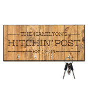 Personalised Rustic Wood Plank Hitchin' Post Key Hanger