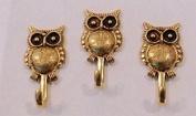 NEW ITEM OWL WALL HOOK ANTIQUE GOLD HK-618AG, SET OF 3