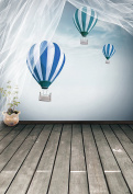1.5m x 2.1m Grey Wood Floor Backdrops Hot Balloon Blue Sky Photo Background For Baby Boy Birthday Pary