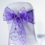 BalsaCircle 10 Fancy Embroidered Sheer Organza Chair Sash Bows Ties - Purple