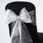 BalsaCircle 10 Fancy Embroidered Sheer Organza Chair Sash Bows Ties - White
