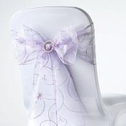 BalsaCircle 10 Fancy Embroidered Sheer Organza Chair Sash Bows Ties - Lavender