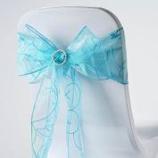 BalsaCircle 10 Fancy Embroidered Sheer Organza Chair Sash Bows Ties - Turquoise