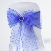 BalsaCircle 10 Fancy Embroidered Sheer Organza Chair Sash Bows Ties - Royal Blue