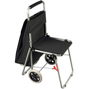 The ArtComber Folding Big Wheeled Portable Rolling Chair / Art Cart With Storage - Black
