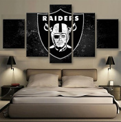 Oakland Raiders, Canvas Wall Art Framed 5 Panel (Size 2