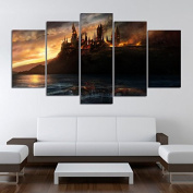 Harry Potter Hogwarts Deathly Hallows, Canvas Wall Art Framed 5 Panel (Size 1