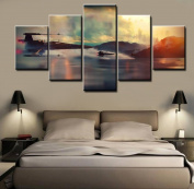 Star Wars X-Wing Fighter,. Canvas Wall Art Framed 5 Panel (Size 2