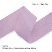 Neotrims 19mm Herringbone Twill Tape Woven Soft Ribbon Trimming 35 Fashion Colours, Baby-Pink