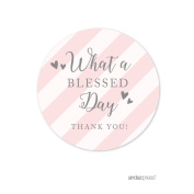 Andaz Press Blush Pink and Grey Baby Girl Baptism Collection, Round Circle Label Stickers, What a Blessed Day Thank You, 40-Pack