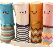 iSuperb Cute Roll-up Bag 4PCS Differently-coloured Striped Smile Pouches Canvas Stationary Pencil Bag Case Cosmetics Bag Pouch for Students Girls Boys