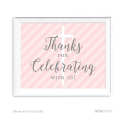 Andaz Press Blush Pink and Grey Baby Girl Baptism Collection, Party Signs, Thank You for Celebrating With Us, 22cm x 28cm , 1-Pack