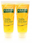 Vaadi Herbals Honey Lemon Face Wash With Jojoba Beads- All Natural- Anti Acne- Hydrating Cleanser- Good Moisturiser- Each 60 Ml- Value Pack Of 2 (120 Ml-4.05 Ounces) -