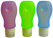BSB Silicone Travel Bottles, Custom Design Squeezable Travel Bottle Set with PVC Bag