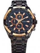 MENS LUXURY BLACK AND GOLD DESIGN BUSINESS WRIST WATCH BY CURREN