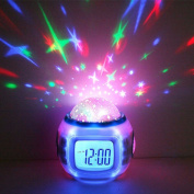 LED Starry Projector Music Alarm Clock with Snooze Function for Kid's Bedroom 10.4 x 8.2 x 10.2cm